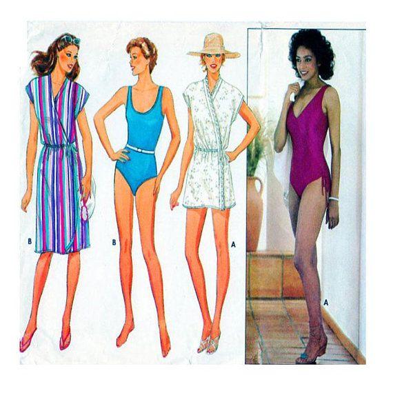 Women, Swimwear, Sewing Pattern, One Piece Swimsuit, Butterick 6462 ...