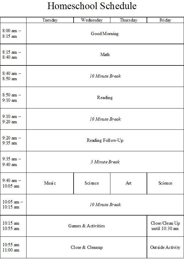 Homeschool Schedule With Ten Minute Breaks School Room