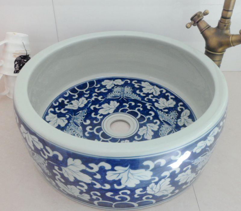 Drum Thickening Art Basin Wash Basin Wash Basin Blue And