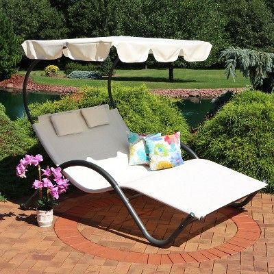 Double Chaise Lounge With Canopy Shade And Headrest Pillows Beige
