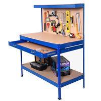 Garage Work Bench Tool Box Storage Pegboard Shelf Workshop Station Steel Blue