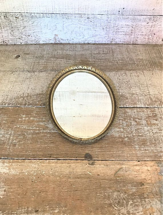 Vanity Mirror Vintage Small Gold Oval Dresser Tray Top Br