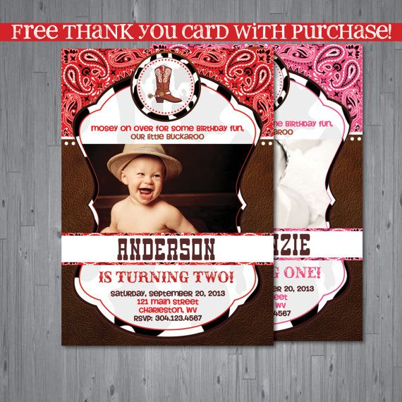 Cowboy Cowgirl Birthday Invitation, first birthday party invitation - invitation card for ist birthday