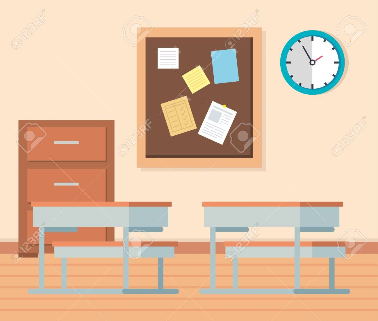 academic classroom with desks and note board to school education vector illustration ,