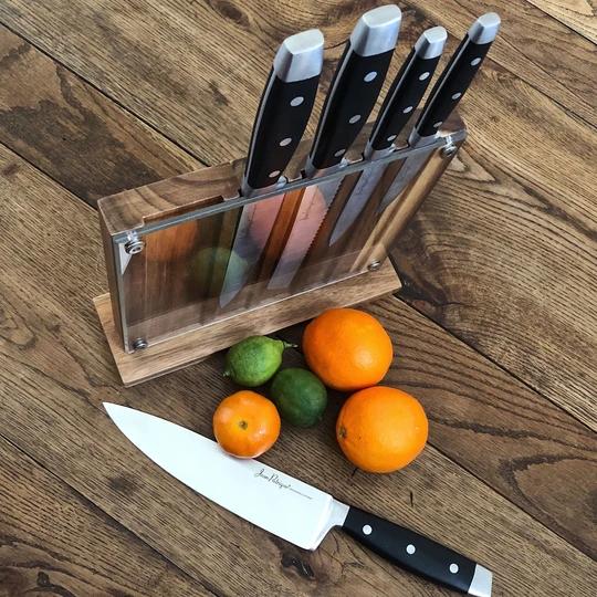 Onyx Collection 5 Kitchen Knife Set with Walnut Acrylic