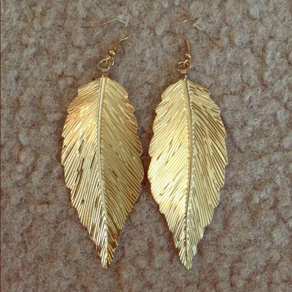 Gold leaf earrings Simple shiny earrings. Please bundle jewelry with other items! Jewelry Earrings