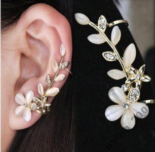 Nausznica Kolczyki Klipsy Kwiat Ear Cuff Earings Ear Jewelry Ear Cuff