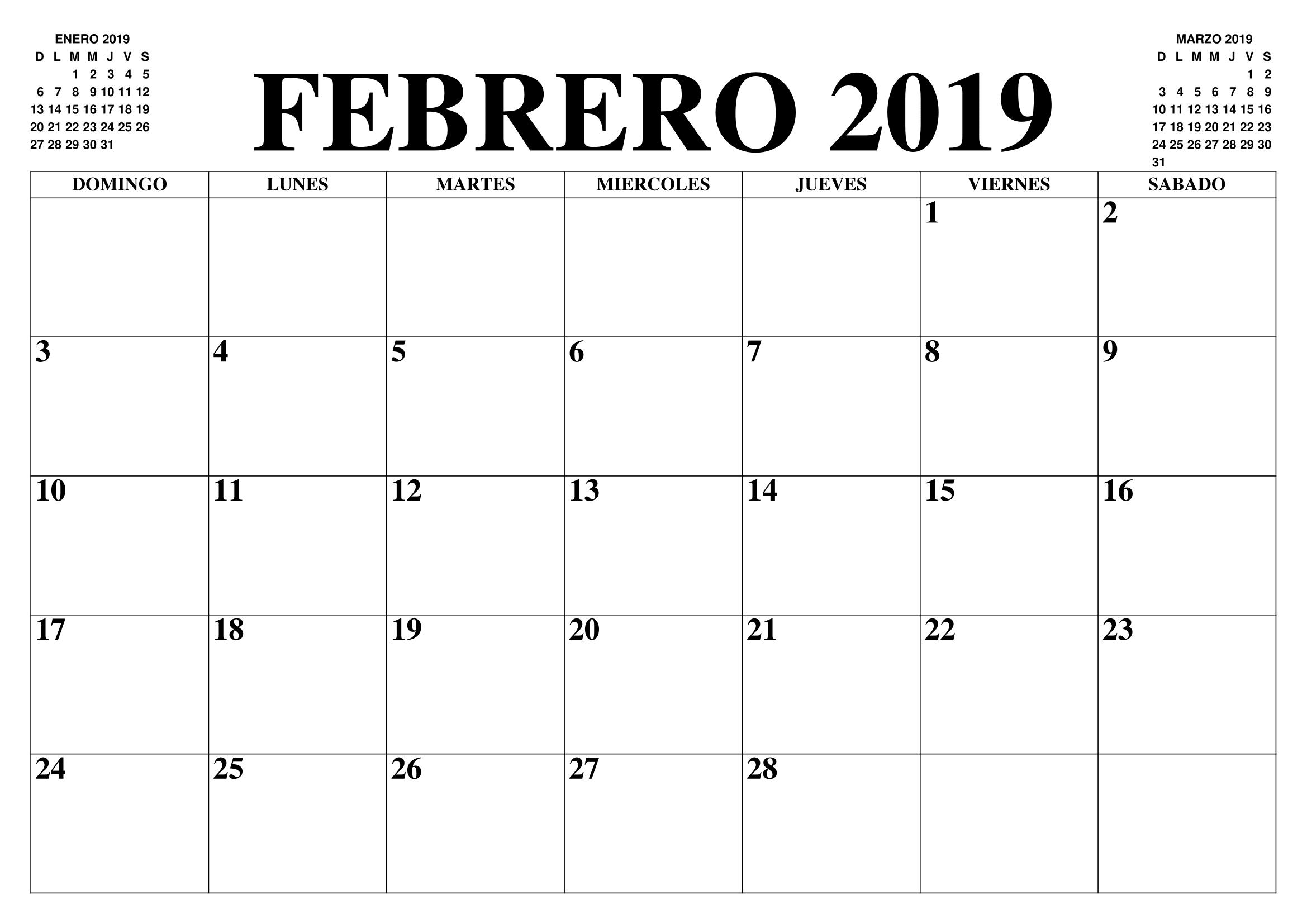Calendario Word 2019.Calendario Febrero 2019 Word Febrero Febrero2019 2019calendario