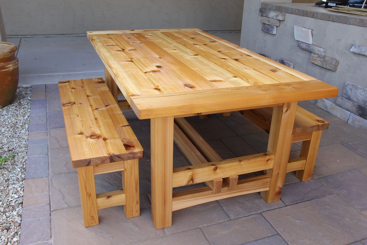 Appealing Cedar Patio Table Plans And A Pair Of Outdoor Backless Bench From Knotty Alder Wood Planks On Clear Polyurethane Varnish Above Stamped Concrete