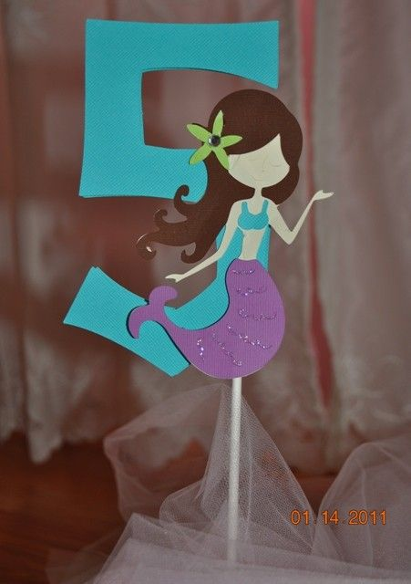Mermaid Party Centerpiece or Cake Topper by jkdesigns2009 on Etsy, $7.00