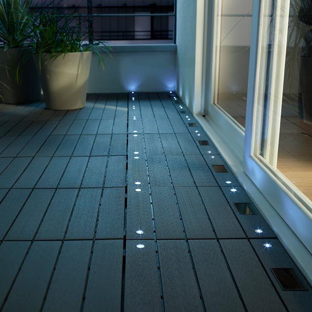 Dalle Balcon emboitable en composite avec LED 30 x 30 cm  CASTORAMA  balcon  Caillebotis