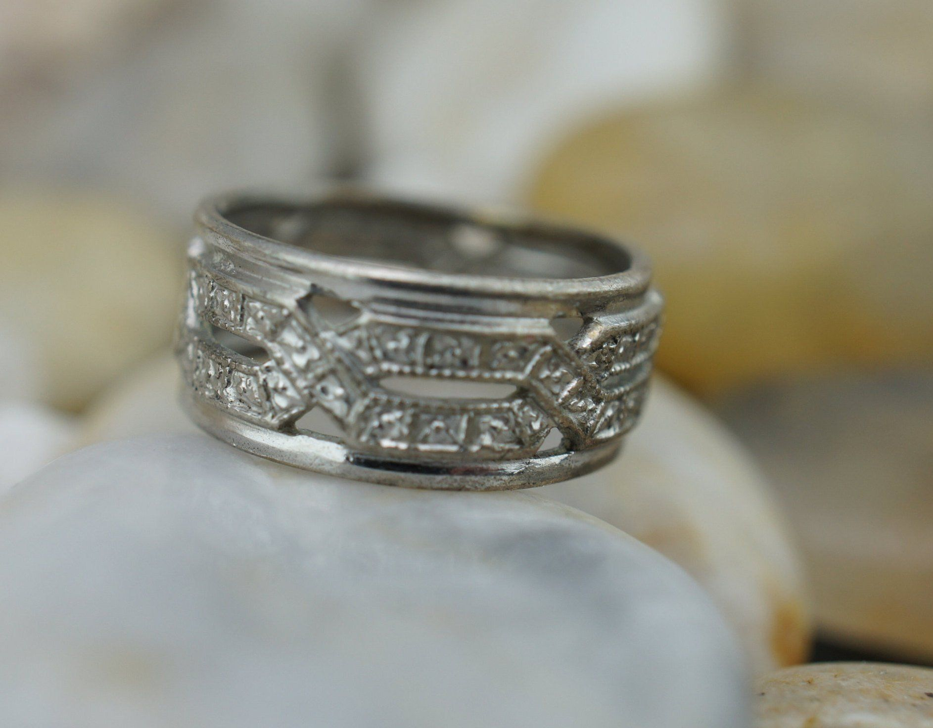 Ring Art Deco wide ring Silver 925 Vintage