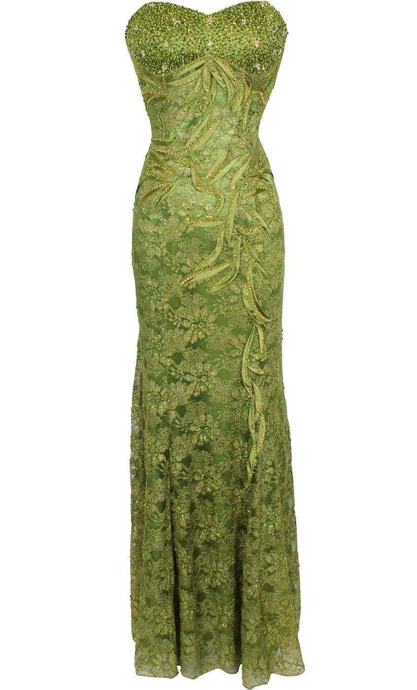Metallic beaded lace overlay formal dress prom gown mob id