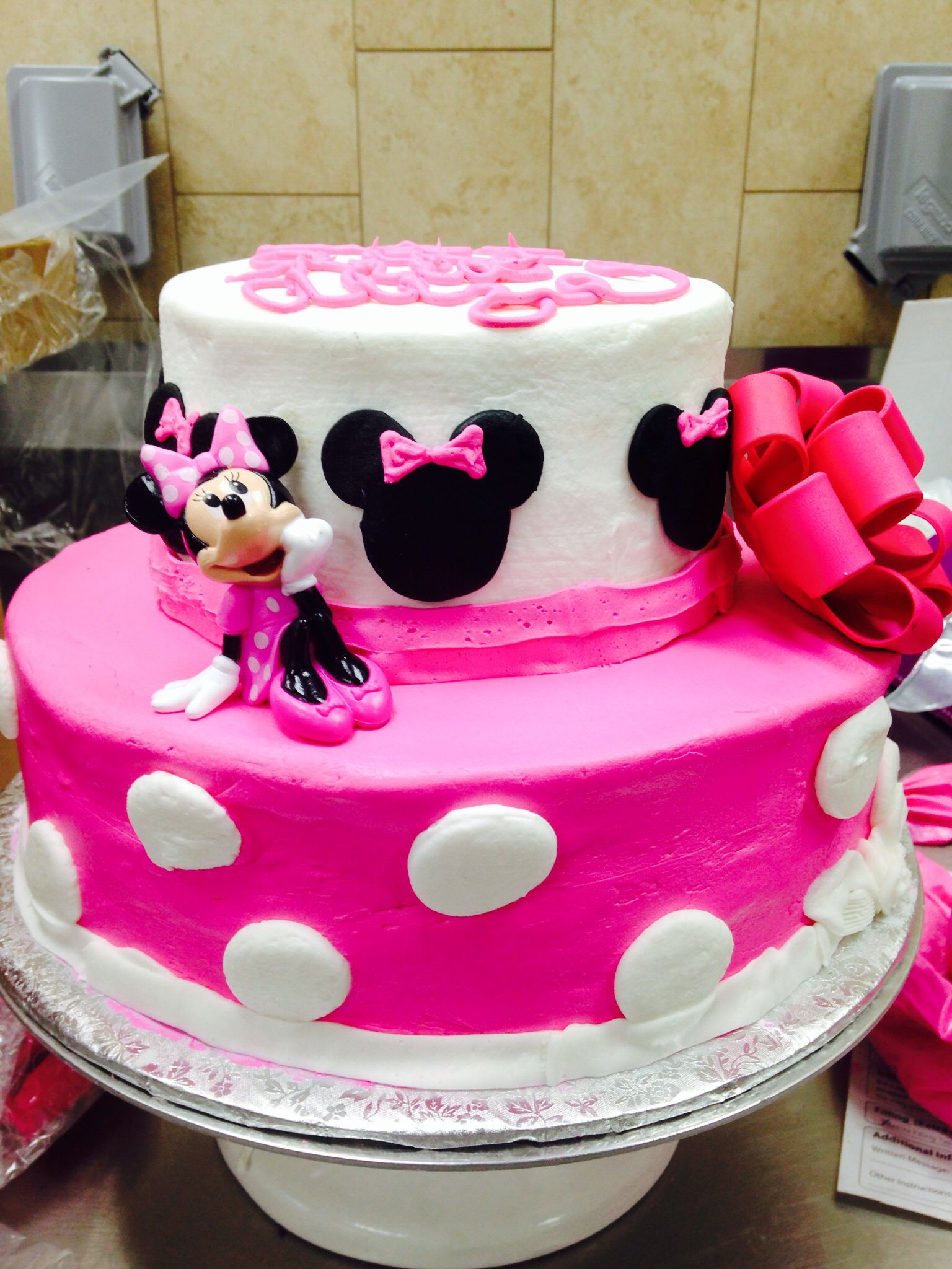 Minnie Mouse cake Two tier cake Walmart cake Walmart Lizzys