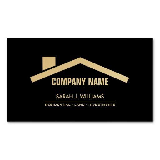 Elegant Black Gold Professional Real Estate Business Card Template