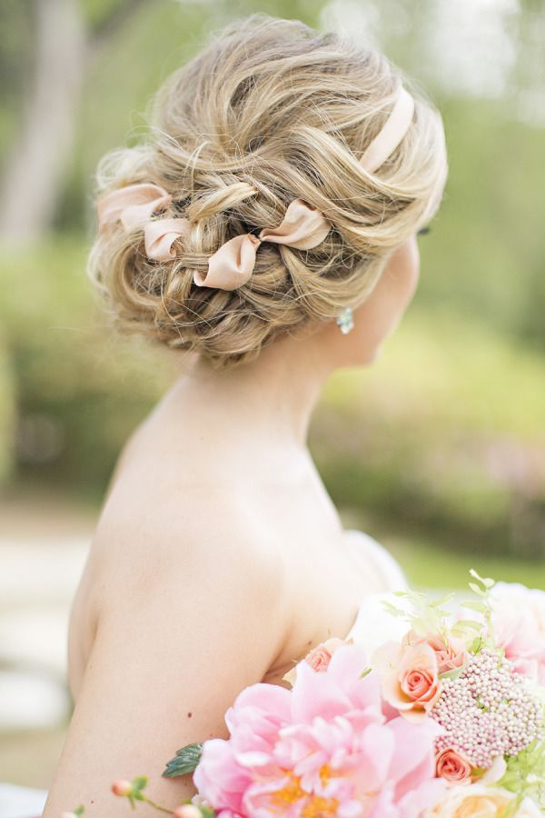 Messy Loose Curls Updo With Blush Ribbon Wedding Hairstyles