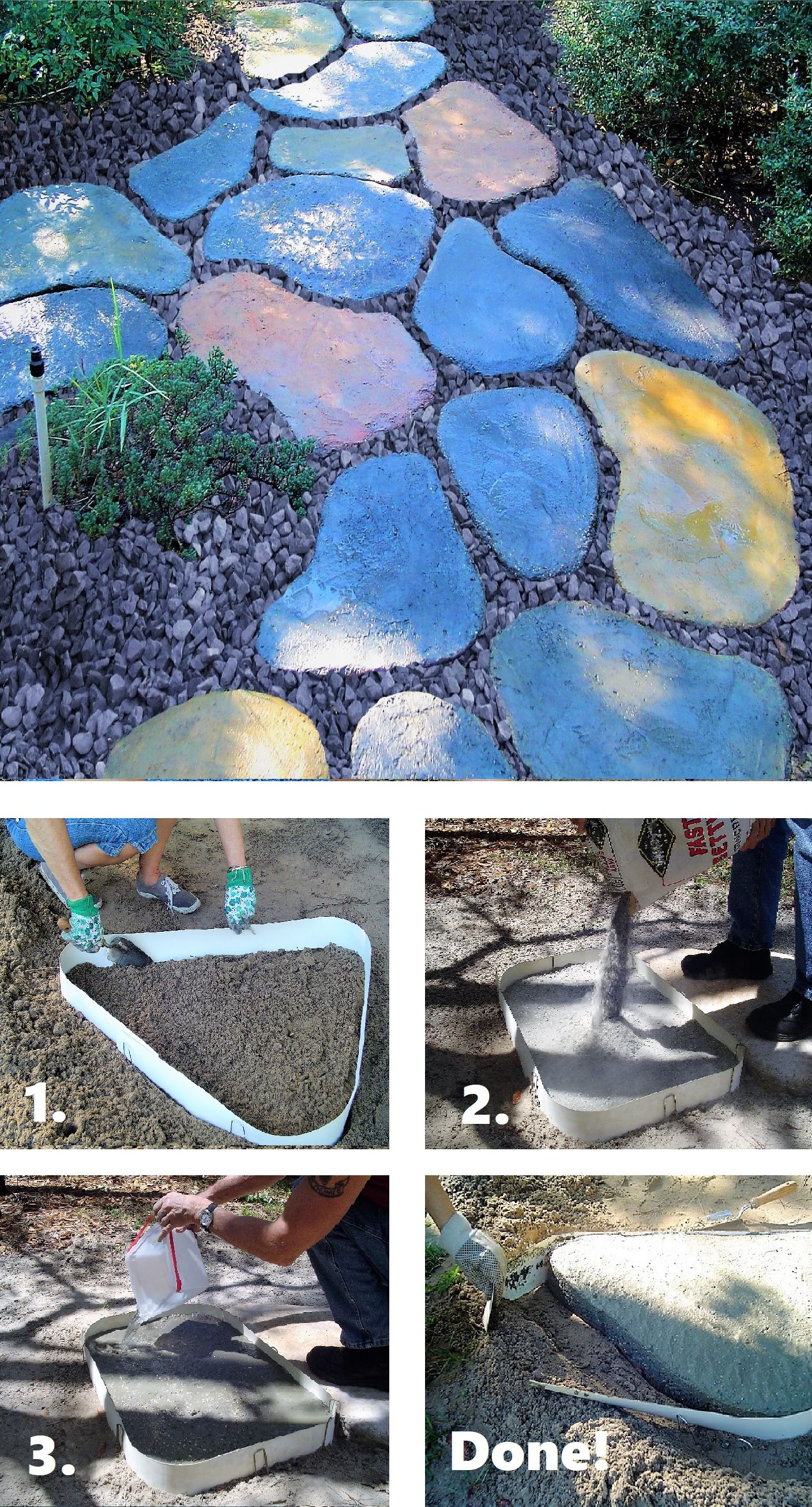 How To Make Diy Stepping Stones Easy To Do Garden Path Colorful