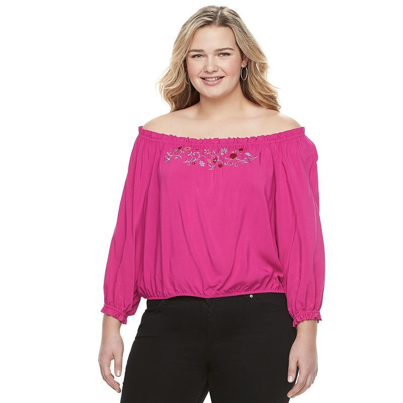 84354d1a5b6 Juniors  Plus Size Candie s® Smocked Off-the-Shoulder Top