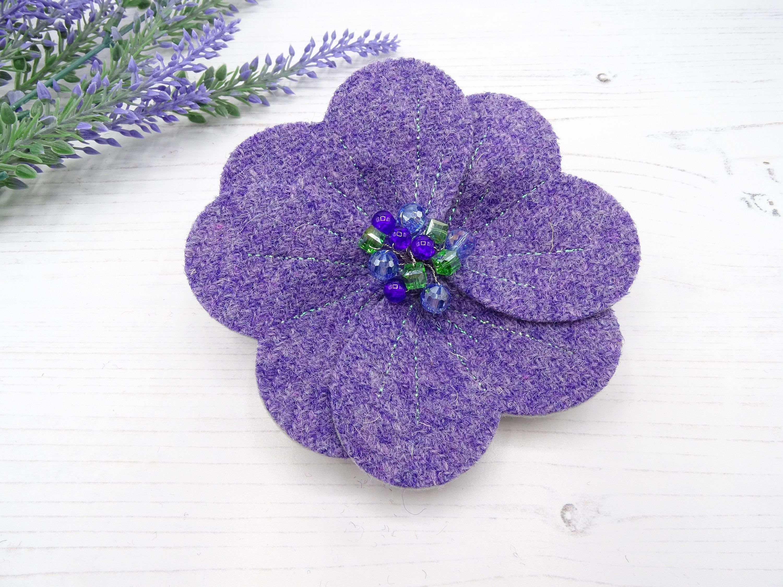 Harris Tweed Poppy Style Brooch In Lilac Flower Brooch Statement Brooch Scottish Gifts Christmas Gift On Fabric Flower Brooch Poppy Brooches Flower Brooch