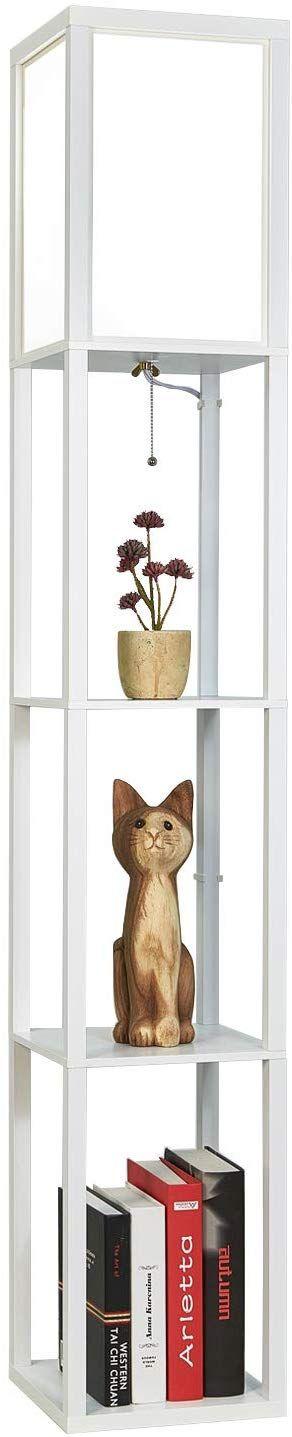 Garwarm Led Shelf Floor Lamp Asian Wooden Frame Tall 640 x 480