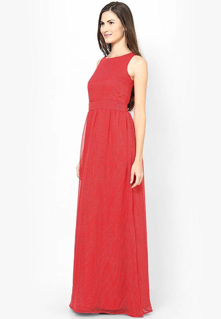 Elegant maxi dresses for weddings  Buy miaminx Elegant Red Polka Chiffon Print Long Maxi Dress  Maxi