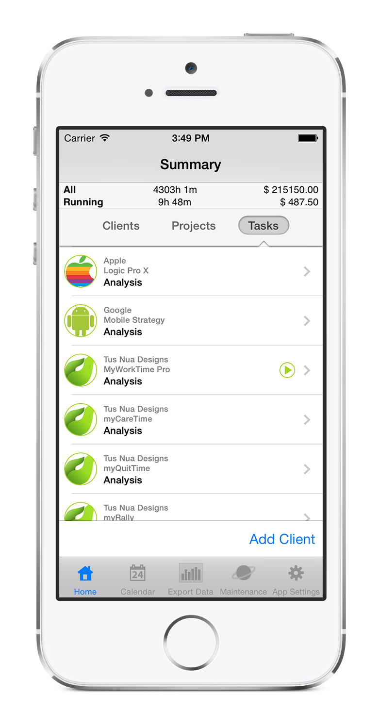 myWorkTime task tracking timesheet app Apple logic, App