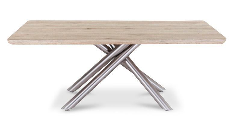 Arona una mesa de edor rectangular con pie de acero cepillado