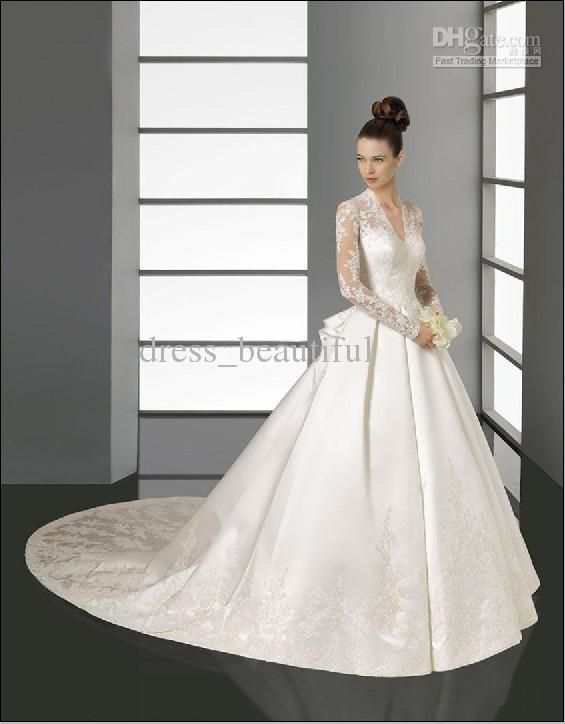 536ea700174 Wholesale Sumptuous Lace Long Sleeves V-Neck A-Line Embroidery Satin  Cathedral Train Wedding Dress Bridal Gown
