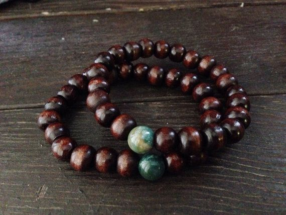 This Handsome Wooden Mens Bracelet Roximately Measures 8 Inches In Diameter Its Lightweight And Unique The Main Centerpiece Stone Is Green Australian