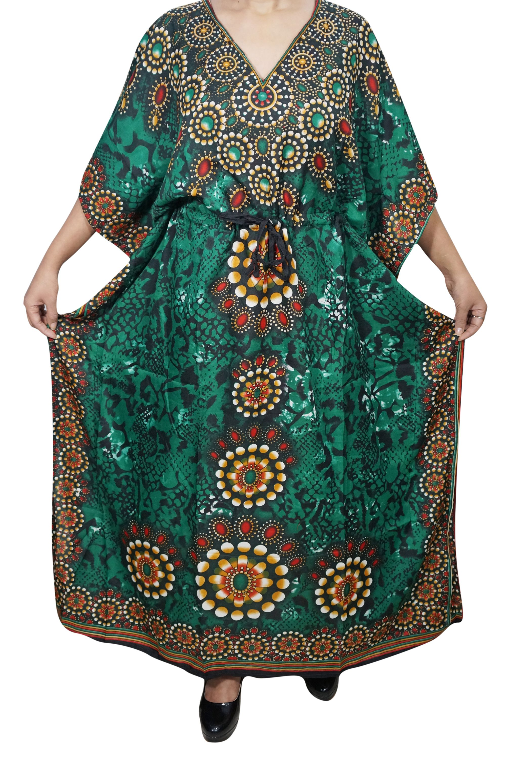 7ea2ce2235 Buy Mogul Womens Kimono Caftan Dress Green Printed Bikini Cover Up  Comfortable Nightgown XXXL at Walmart.com