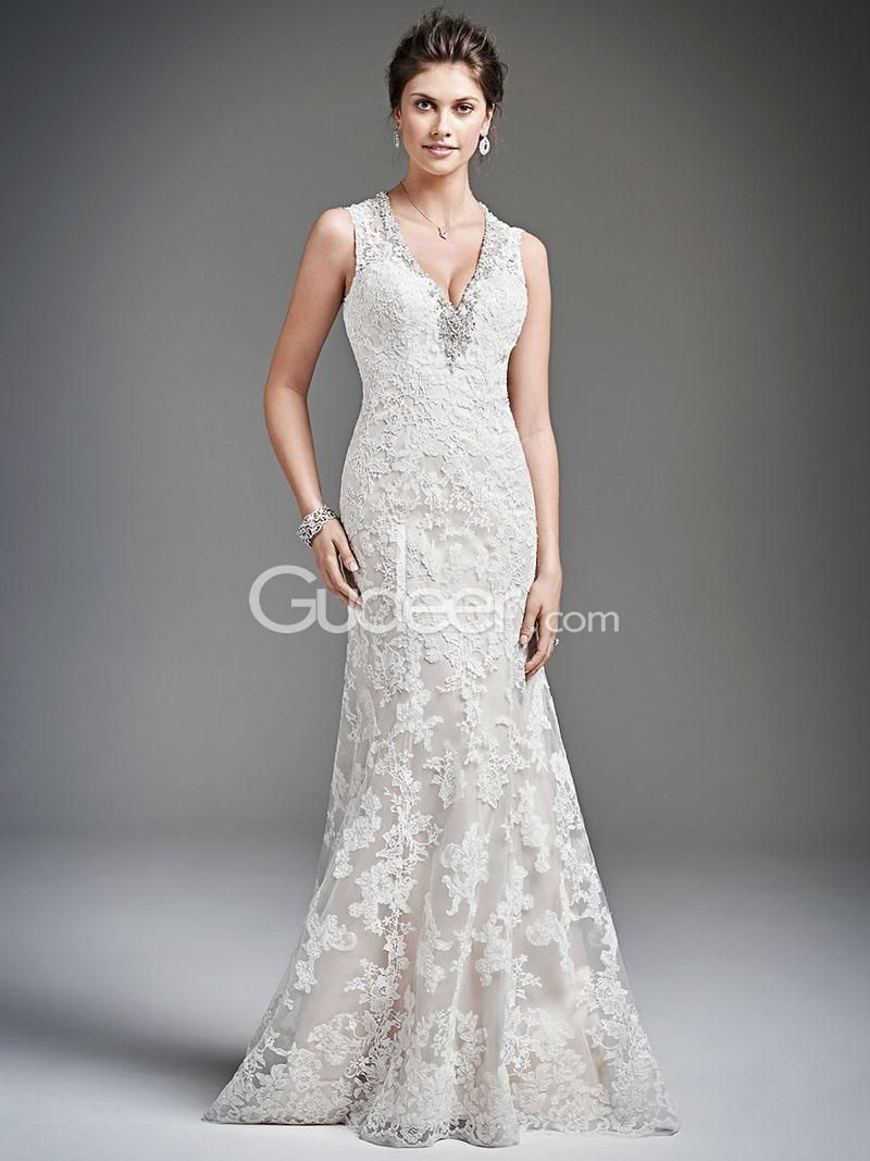 Wonderful full lace mermaid v neckline sleeveless wedding dress