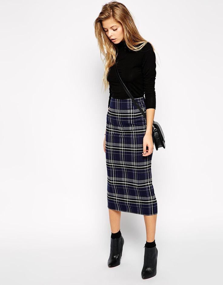 plaid pencil skort long midi with ankle boots