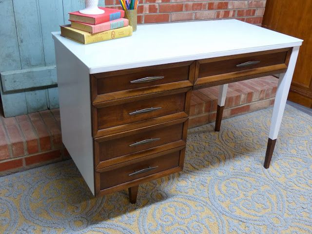 Modern Furniture Grand Rapids Mi modern desk 2 tone desk mcm desk dipped feet simple redesign