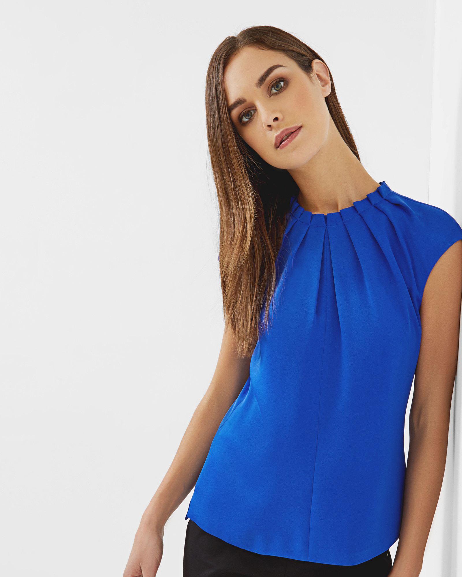 b0e65d977 Pleated high neck top - Bright Blue