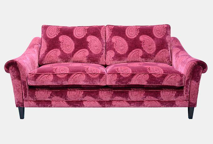 Kingham Sofa On Legs In Zoffany Orissa Velvet Burgundy
