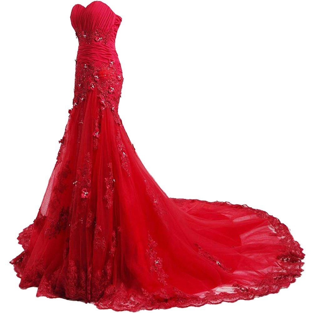 Felaladress charming long red appliques sweetheart mermaid prom