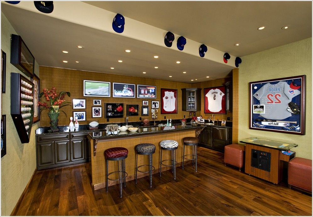 Sports Bar Ideas For Home Basement Mediterranean With Gallery Wall Media Room  Game Room