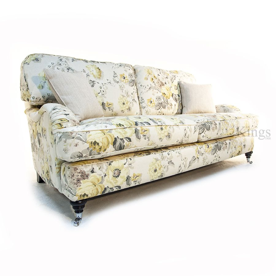 Wade Upholstery Floyd Sofa in Floral Linen Fabric Made in