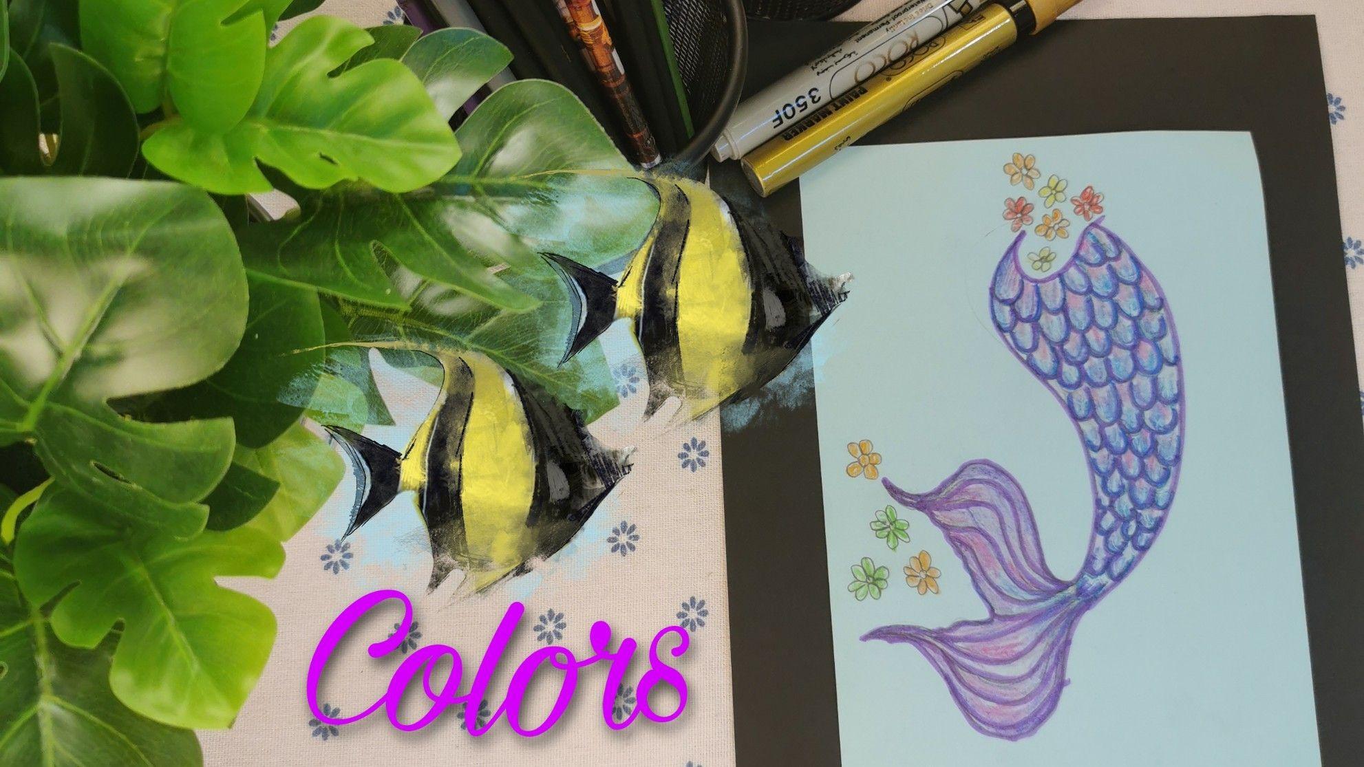 تلوين ذيل عروسة البحر Colorful Drawings Drawings Color
