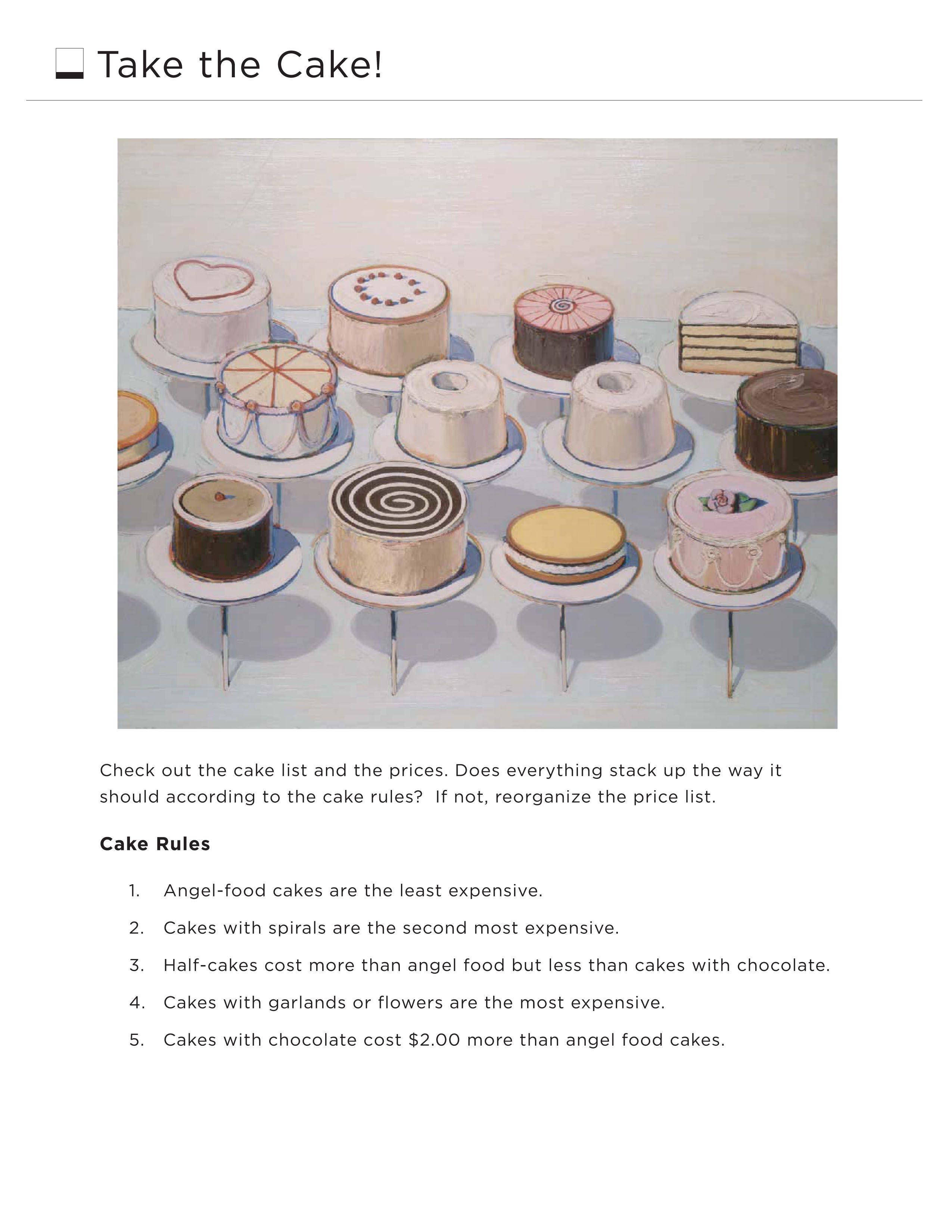 Take The Cake Worksheet Students Solve Logic And Money