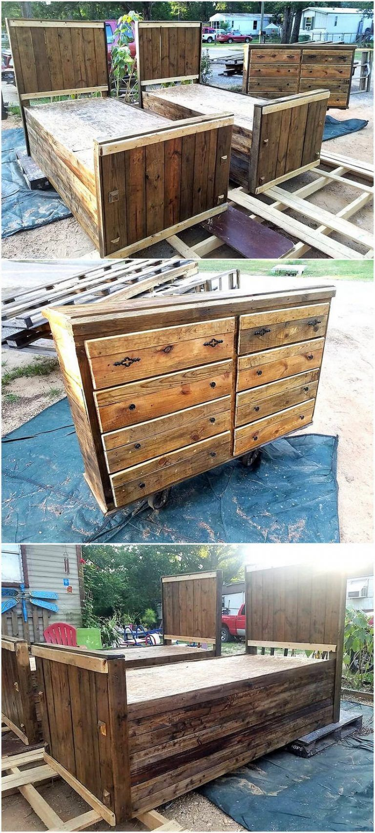 Rustic Beds and Bedroom Furniture Ideas #palletbedroomfurniture