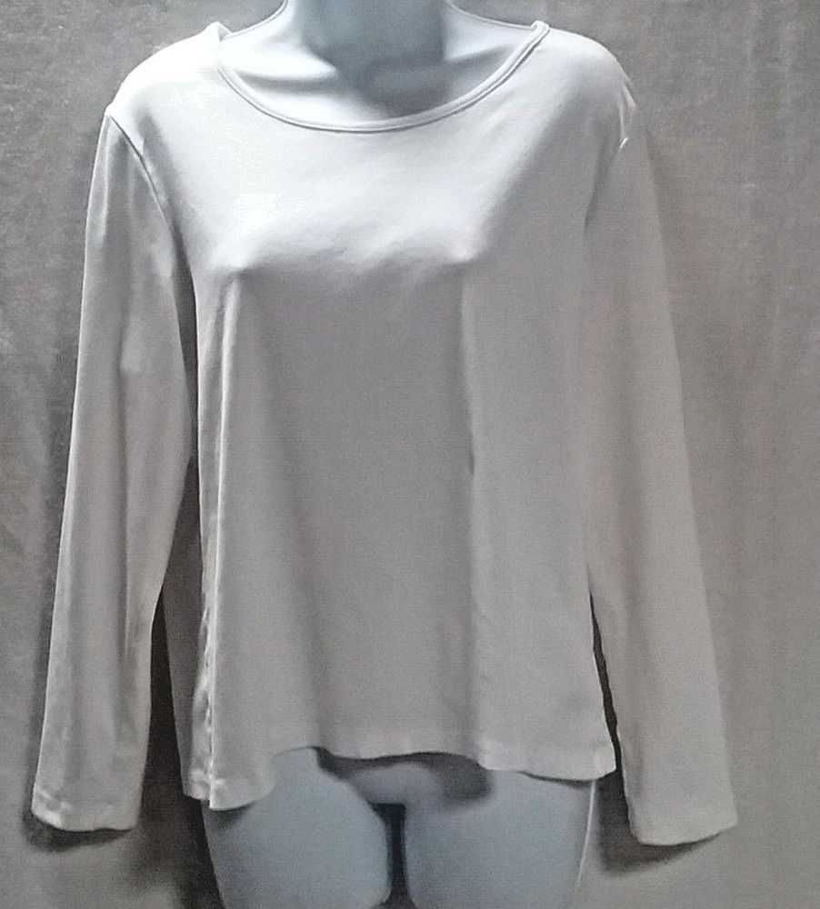 f724570e8f56a White Stag Womens XL 16-18 White Long Sleeve Pullover T Shirt Cotton   WhiteStag  TShirt  ebay  geedeeroseclothing