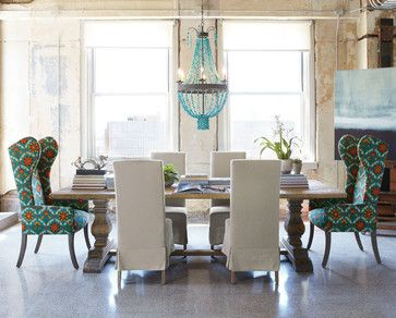 Natural Dining Table & Upholstered Dining Chairs Eclectic Dining Alluring Eclectic Dining Room Sets Decorating Design