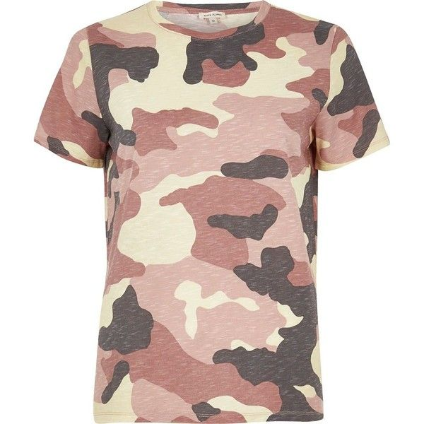 da785a4b3677d River Island Pink camo print T-shirt ($32) ❤ liked on Polyvore featuring  tops, t-shirts, pink, print t-shirts / tanks, t shirts / tanks, women, pink  tee, ...