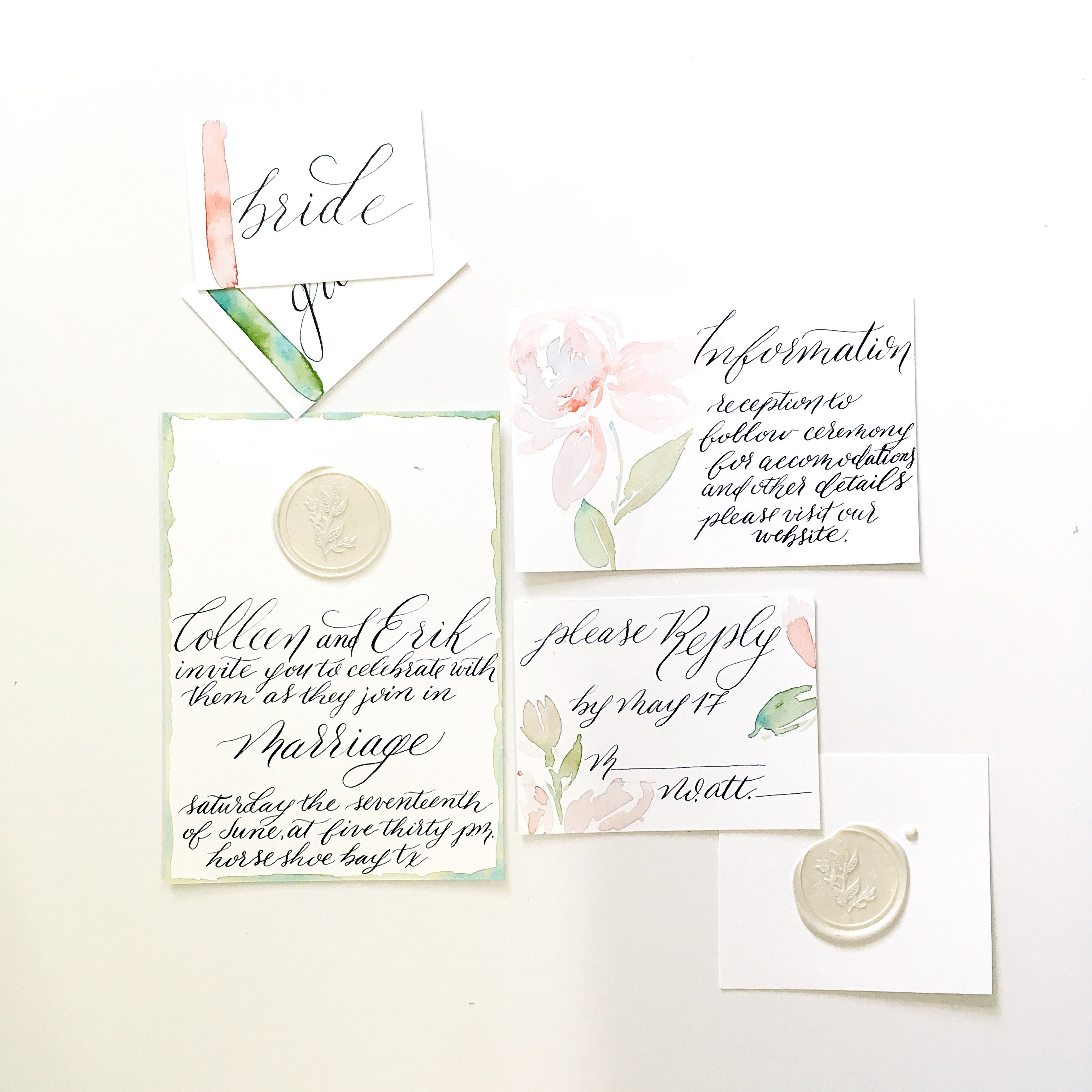 Formal Invitation Suite With Custom Calligraphy And Watercolor