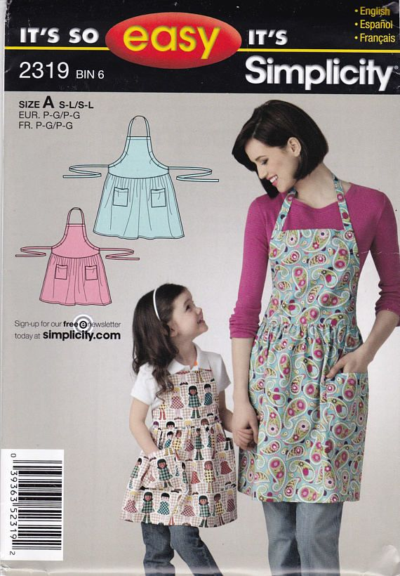 Simplicity 2319 Vintage Pattern Mommy and Me Matching Aprons ...