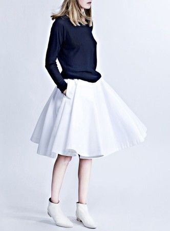 ankle booties + full skirt + sweatshirt = stunning