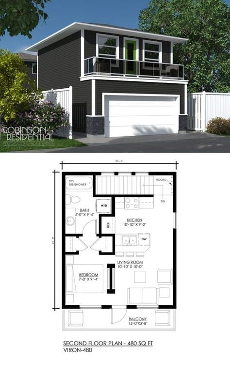 Contemporary Viron-480 | Grandview | House plans, Garage ...