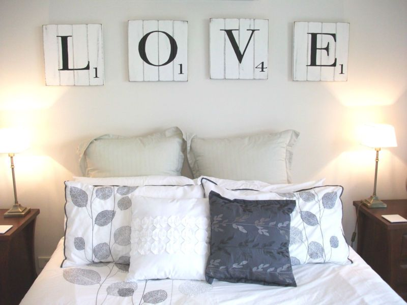 Scrabble Letters - Wooden Wall Art with a shabby chic design