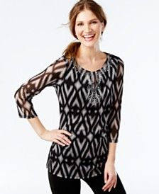 INC International Concepts Embellished Ikat-Print Mesh Tunic, Only at Macy's
